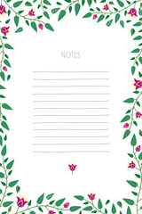 Notepad with hand drawn lines and flower frame. Vector design.