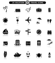 Vacation & travel icons with reflection