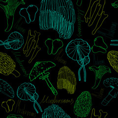 Seamless pattern with fluorescent  mushrooms