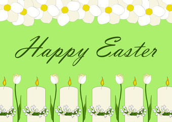 Easter card with white  narcissus, candles and tulips