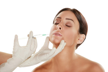 beautiful woman treatment with botox injection
