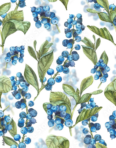 Watercolor Seamless Background with Blue Berries - 81298807