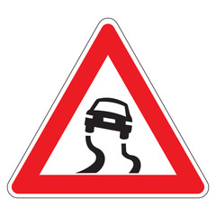 Risk of skidding on wet or dirty roads