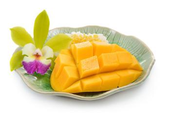Mango and Sticky Rice on white background