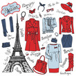 Paris Fashion.Clothing set.Tricolor doodle Sketch - 81299814