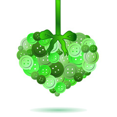decorative heart from green colors buttons eps10
