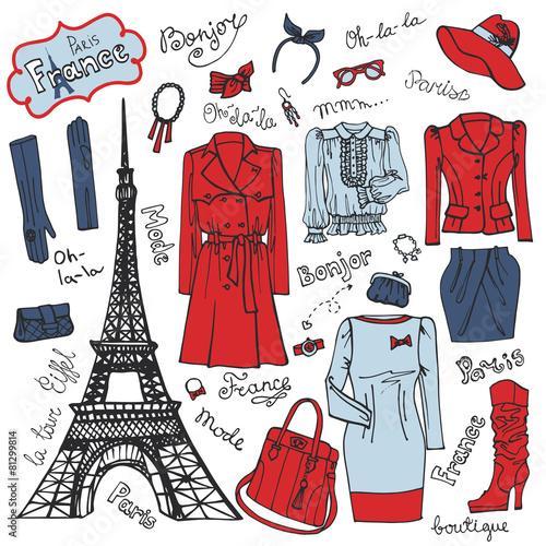 Leinwanddruck Bild Paris Fashion.Clothing set.Tricolor doodle Sketch