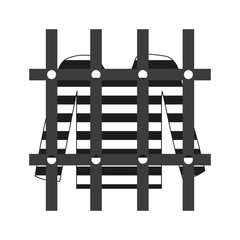prisoner shirt in prison grayscale icon eps10