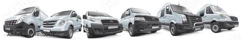 Leinwanddruck Bild Set of commercial vehicles