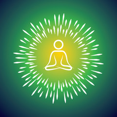 meditation symbol vector icon & sunburst like rays emerging from