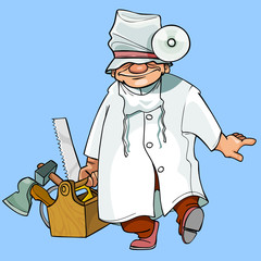 cartoon caricature health worker with tools
