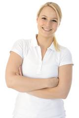 Frau in weißem Poloshirt