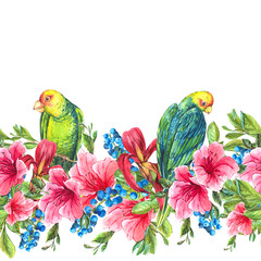 Floral Seamless Border with Tropical Flowers and Green Parrots