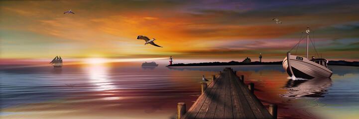 Sonnenuntergang am Bootssteg mit Leuchtturm Fischkutter