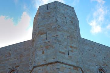 An octagonal tower of Castel del Monte, Apulia, Italy