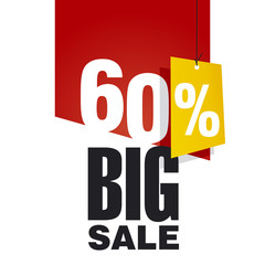 Big Sale 60 percent off red background