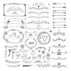 Hand drawn floral page elements. Swirls, ribbons, frames, arrows