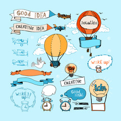 Idea hand-drawn elements. Bulbs, airplanes, balloons and alarm