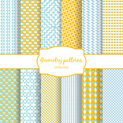 Abstract geometric vector seamless patterns set