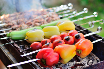 Barbecue vegetables and meat.