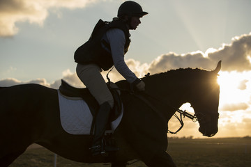 Horse and rider galloping in evening light. Backlit.