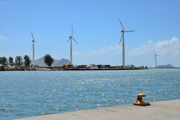 Group of windmills for electric energy production in Seychelles.