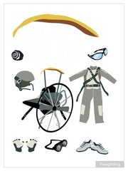 Set of Paraglider Equipment on White Background
