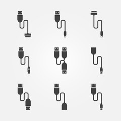 USB cables vector icons