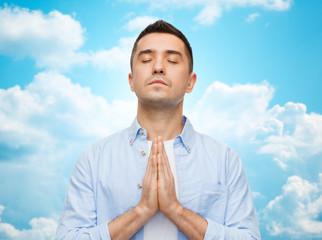 happy man praying