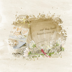 wedding scrapbook with daisy bouquet in frame