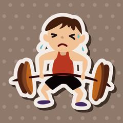 sport Weight lifting athlete flat icon elements background,eps10