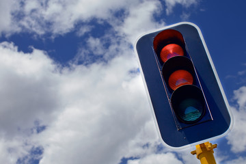 Traffic lights with red, yellow and green