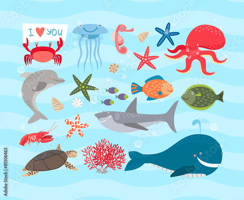 Vector cute sea animals. Dolphin and whale, octopus, turtle - 81306463