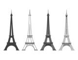 Eiffel Tower in Paris Vector Silhouette - 81306667
