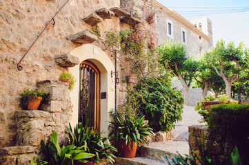 Street old traditional houses at Waldemossa, Mallorca island