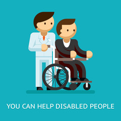 Disabled people help concept
