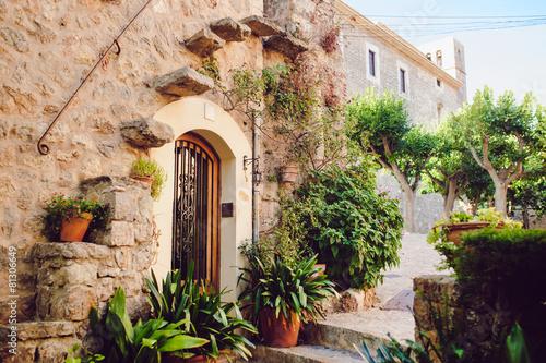 Street old traditional houses at Waldemossa, Mallorca island - 81306649