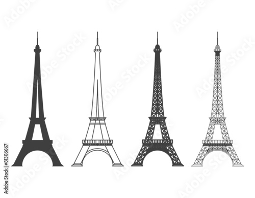 Eiffel Tower in Paris Vector Silhouette - 81306667