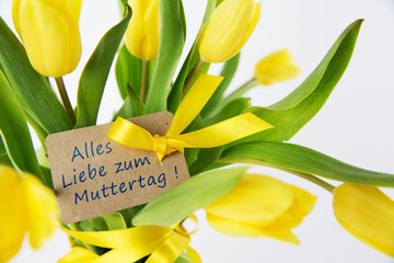 Bouquet of yellow tulips for Mother's Day