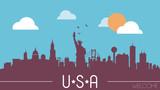Fototapety USA skyline silhouette vector illustration
