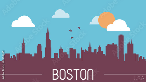 Boston USA skyline silhouette vector illustration