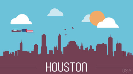 Houston USA skyline silhouette flat design vector