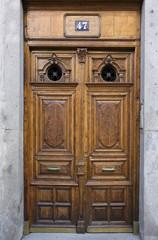 Old brown door, vertical image