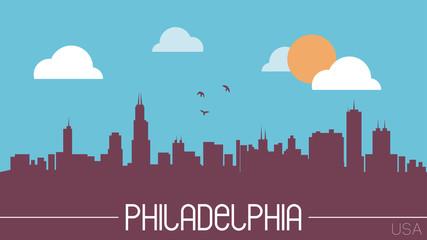 Philadelphia USA skyline silhouette flat design vector
