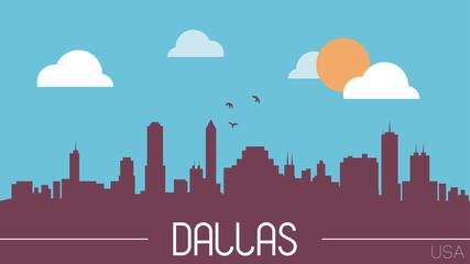 Dallas USA skyline silhouette flat design vector