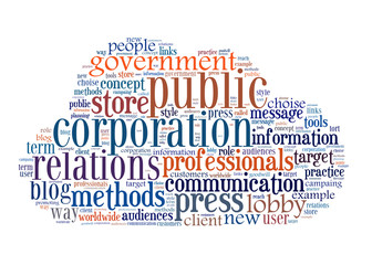 Concept of public relations, within a cloud words and tags