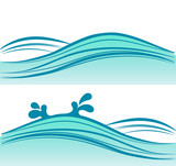 blue sea waves on white background,