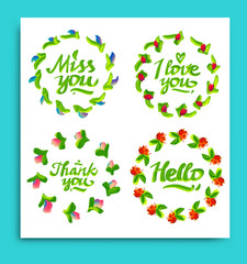 Greeting cards for different occasions everyday. Typography and