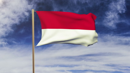 Indonesia flag with cloud waving in the wind. Green screen