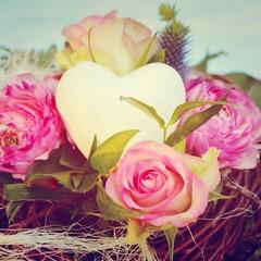 Grußkarte - Blumenstrauß mit Herz - Vintage